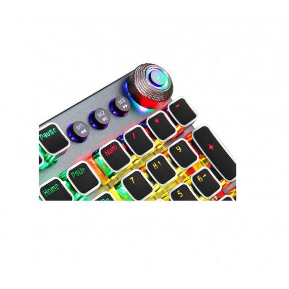 AULA F2088 programozható professzionális gamer billentyűzet - mechanikus gombok, brown-switch 108 keys, RGB LED világítás, vezetékes kapcsolat