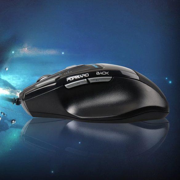 AULA S12 professzionális gamer egér - 7 programozható gomb, 4800dpi, RGB LED világítás, vezetékes USB kapcsolat
