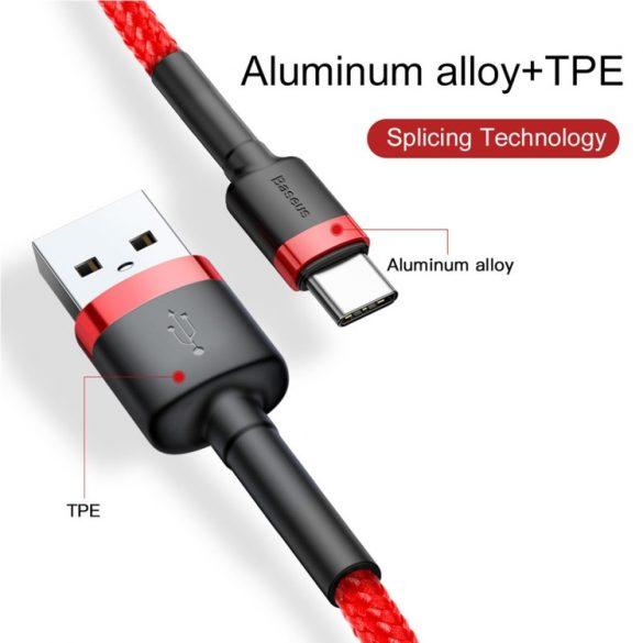 Baseus premium USB-Type C  - 1 méter, 3 Amperes töltés, gyöngyvászon borítás - piros