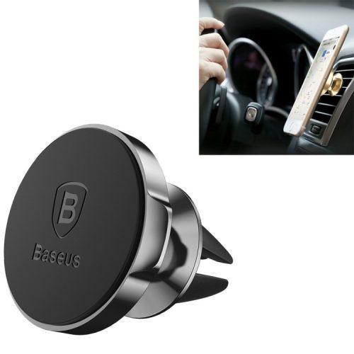 Baseus szellőzőrácsra helyezhető, mágneses autós telefontartó, fekete