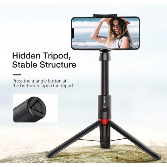 Tripod és szelfi bot + extra hossz - BlitzWolf® BW-BS10 Plus 1300 mm hossz, kihúzható állványl, rejtett lábak, kivehető távirányító