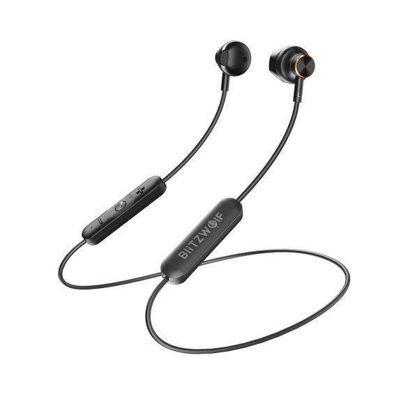 Blitzwolf® BW-BTS5 IPX5 vízálló Bluetooth sport mágneses headset mikrofonnal alu házban