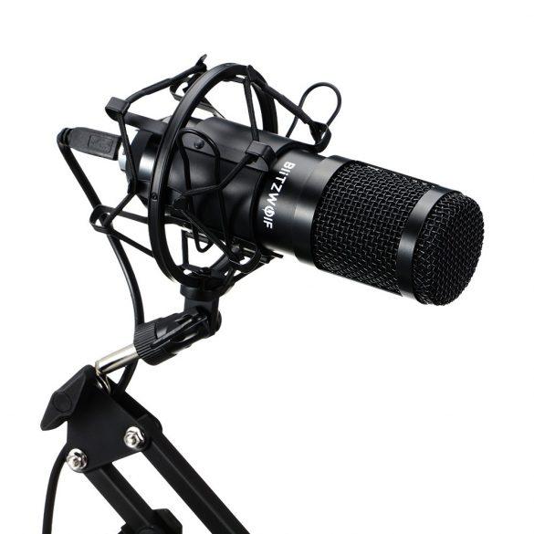 BlitzWolf BW-CM2 - USB Kondenzátor mikrofon + pop szűrő + mikrofon tartó kar