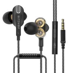 BlitzWolf® BW-ES6 - vezetékes, Dual Dynamic Ddriver-es fülhallgató mikrofonnal (headset)
