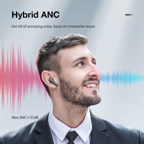 Blitzwolf® BW-FYE11 - Aktív zajcsökkentős, fél hosszított Bluetooth fülhallgató. kistálytiszta és mély hangzás, 6,5 óra működési idő