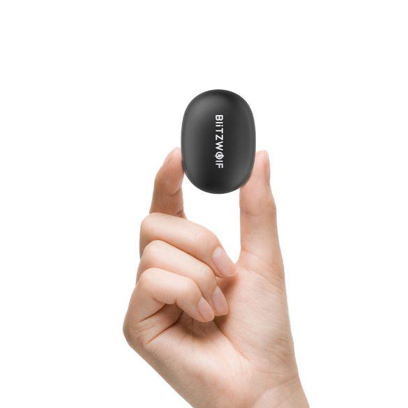 BlitzWolf® BW-FYE5s Töltődobozos (TWS) Hi-Fi Stereo Bluetooth fülhallgató, fekete szín, IPX5-ös vízállóság