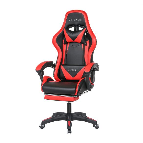 BlitzWolf BW-GC1 Piros Gamer szék - 150°-ban állítható, párnázott kéztartó, gerinctartó párna