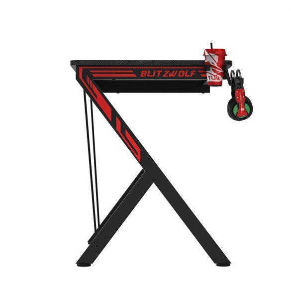 BlitzWolf BW-GD1 Gamer asztal - nagy méret, masszív kialakítás, fejhallgató és pohártartóval