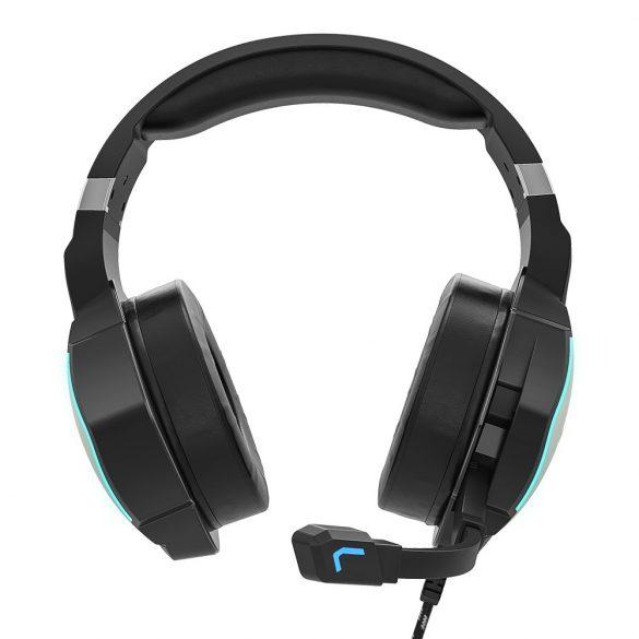 7.1 tér hangzású Gamer fejhallgató - BlitzWolf BW-GH1; Basszus kiemelés, RGB LED világítás, zajszűrés, kényelmes viselet, PC PS4 XBOX -eken