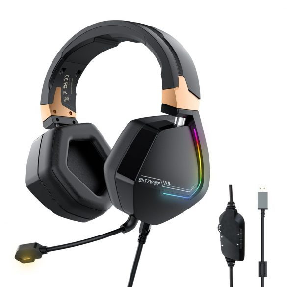 7.1 tér hangzású Gamer fejhallgató - BlitzWolf BW-GH2 - 53 mm-es hangszóró, basszus kiemelés, RGB LED világítás, zajszűrés, kényelmes viselet, PC PS4 XBOX -eken