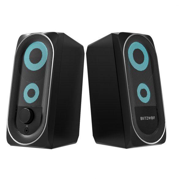 BlitzWolf BW-GT1 - Számítógép hangszóró RGB világítással, basszus kiemelés, kompakt méret