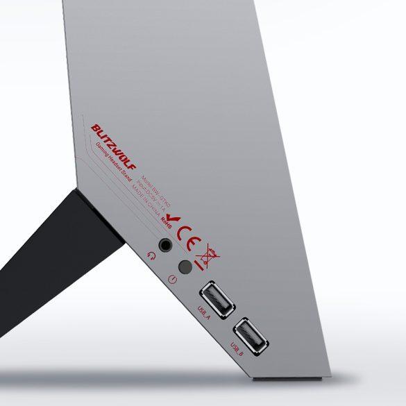BlitzWolf BW-GTK0 - RGB Gamer fejhallgató tartó, USB és Jack port