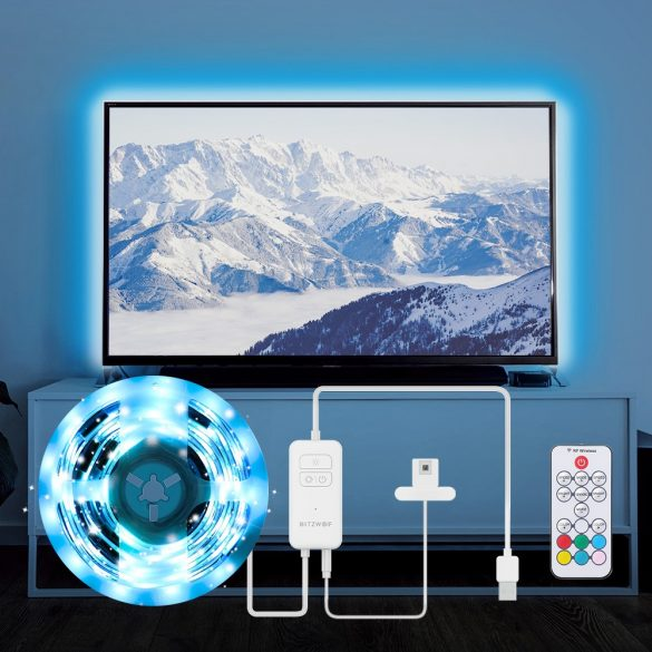 BlitzWolf® BW-LT32 - USB TV háttérvilágító LED szalag - 2m,  távirányító, hang mód, számtalan effekt