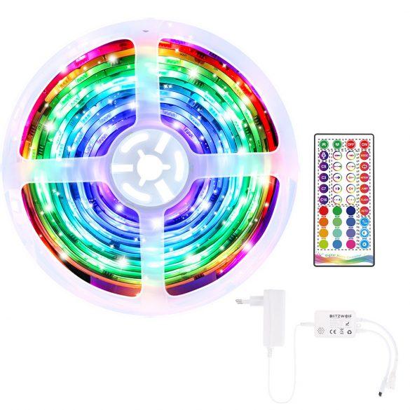BlitzWolf® BW-LT33 smart LED-fénycsík - 5m hossz,  App és IR távirányítás, zene mód, számtalan effekt