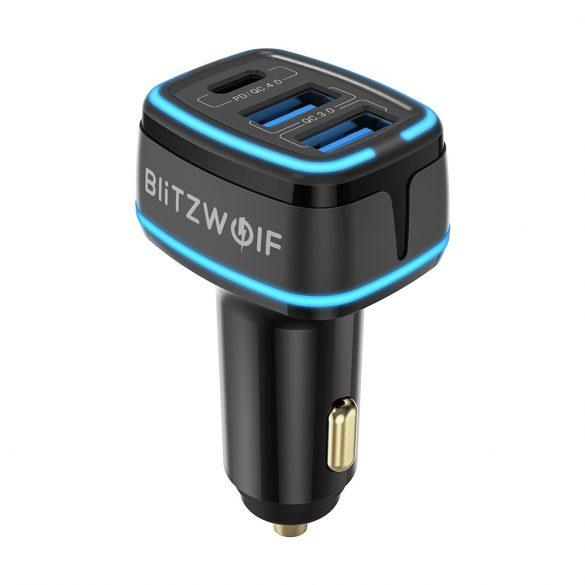 BlitzWolf® BW-SD7 Autós töltő 30W  2xQC4.0 + 1x PD gyorstöltős technológiákkal, LED-es világítással