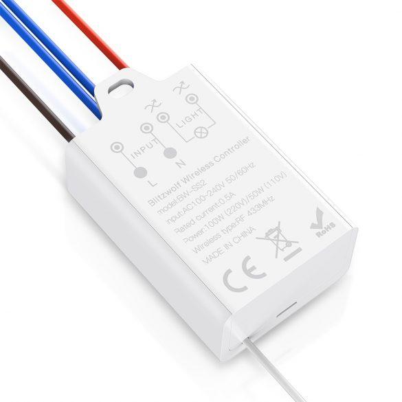 Blitzwolf® BW-SS2 RF 433Mhz-es okos fali villany kapcsoló - kinetuks energiával (nem kell elem)