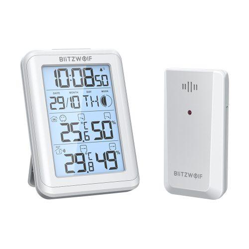 Blitzwolf® BW-TM01 - Időjárás állomás külső érzékelővel. holdfázis megjelenítés, 30 hatótáv, pára és hőmérséklet mérés, ébresztő