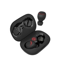 BlitzWolf® AIRAUX AA-UM1 Töltődobozos (TWS) Hi-Fi Stereo Bluetooth fülhallgató, fekete-piros szín, IPX6-os vízállóság