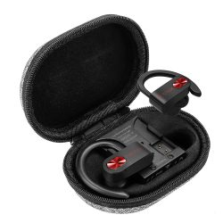 BlitzWolf® AIRAUX AA-UM2 Töltődobozos (TWS) Hi-Fi Stereo Bluetooth akasztós fülhallgató, fekete-piros szín, IPX5-ös vízállóság