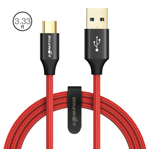 USB 3.0, 1 méter hosszú C típusú (USB type C) USB kábel -BlitzWolf® Ampcore BW-TC9 - 3 Amperes töltés, arany bevonat, gyöngyvászon borítás