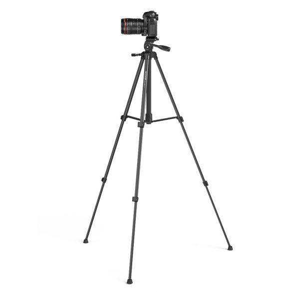 Tripod állvány kamerákhoz és telefonokhoz - BlitzWolf® BW-BS0 1505 mm, 3 kg teherbírás. Távirányítóval.