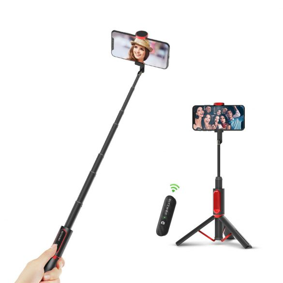 BlitzWolf® BW-BS10 Sport Szelfi bot + sportkamera tartó, 720mm hossz, visszahúzható állvány, rejtett telefontartó, kivehető távirányító