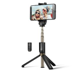 BlitzWolf BW-BS3 Versatile 3 în 1 bluetooth Tripod Selfie Sticks pentru iPhone 8 8 Plus iphone X - Negru