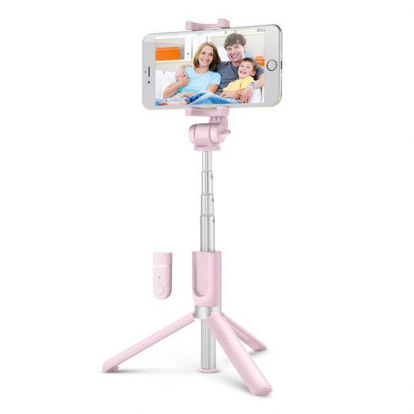BlitzWolf BW BS3 (tripod) rózsaszín szelfi bot és telefon állvány távirányítóval