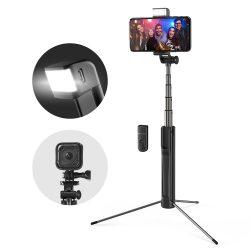 Blitzwolf BW-BS8 Selfie Stick extensibil pentru trepied bluetooth cu lumină de umplere LED pentru camera de sport a telefonului - negru