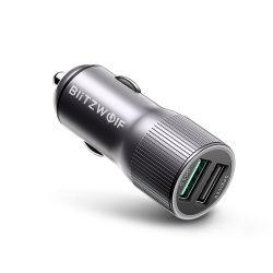 Autós töltő 30W BlitzWolf® BW-SD2 1xQ3.0 és 1x Power3S gyorstöltős technológiával, LED-es világítással