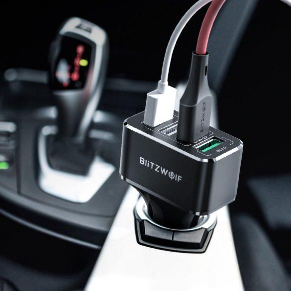 Autós töltő 50W BlitzWolf® BW-SD3 1xQ3.0 és 3x Power3S gyorstöltős technológiával