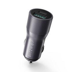 Autós töltő 36W BlitzWolf® BW-SD4 1xQ3.0 gyorstöltős és 1x PD2.0 Type-C töltési technológiával, LED-es világítással