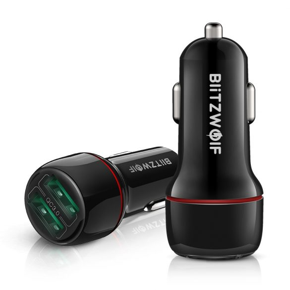 BlitzWolf® BW-SD5 Autós töltő 25W  2xQ3.0 gyorstöltős technológiával, LED-es világítással