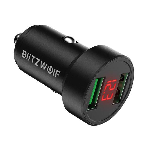 Autós töltő 24W BlitzWolf® BW-SD6 1xQ3.0 és 1xQ2.0 gyorstöltős technológiával, volt kijelzéssel