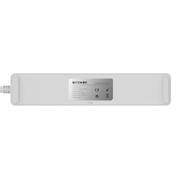 Blitzwolf® BW-SHP9 Wifis okos hosszabbító + USB töltő 15A 3300W - Amazon Echo, Google Home és IFTTT integrálhatóság