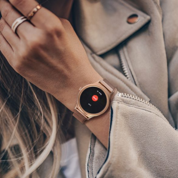 Blitzwolf® BW-AH1 arany érintőkijelzős smart női karóra - 24 órás pulzusszám, 24 fajta sportadat követés, hívások és emlékeztetők, időjárásjelző