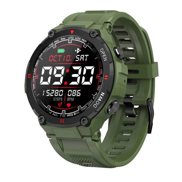 """Blitzwolf® BW-AT2 Zöld Sport Smart Watch - 10-15 nap akku idő,  1.3"""" IPS kijelző, számtalan beépített funkció."""