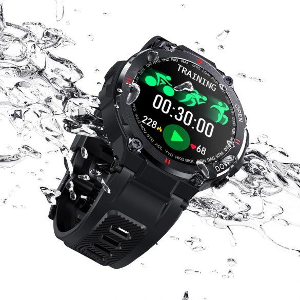 Blitzwolf® BW-AT2C (Fekete) Okos óra beépített mikrofon és hangszóró a számtalan aktivitásmő funkció mellett