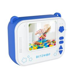 Blitzwolf BW-DP1 - gyerek fényképező és azonnali nyomtató egyben: 1080P, 30fps, filterek stb. - kék
