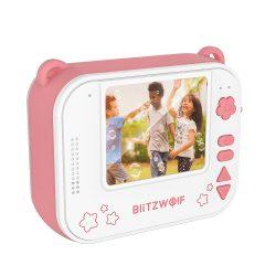 Blitzwolf BW-DP1 - gyerek fényképező és azonnali nyomtató egyben: 1080P, 30fps, filterek stb. - rózsaszín