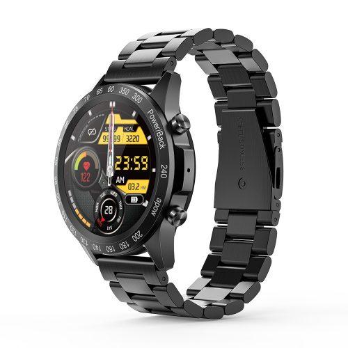 Blitzwolf® BW-HL4 (fekete) bluetooth okosóra - fém szíj, IP67, hívás és üzenet emlékeztető, zenelejátszás, Muti-sport mód, egészségügyi adatok