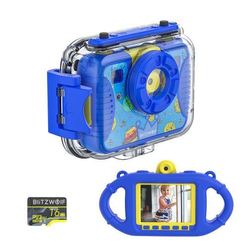 Blitzwolf BW-KC2 - vízálló gyerek fényképezőgép: 1080P, 30fps, filterek stb - kék