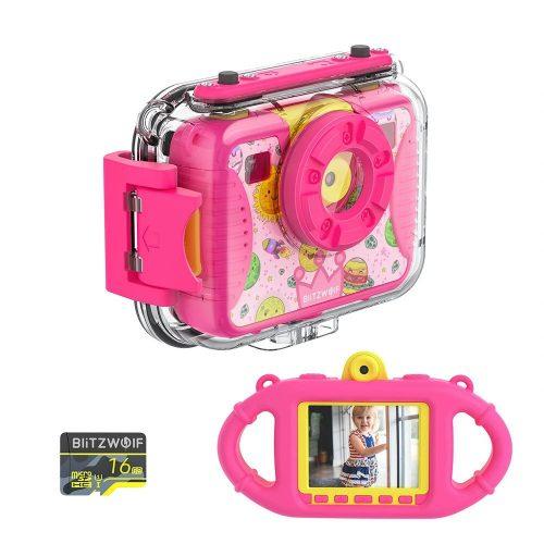 Blitzwolf BW-KC2 - vízálló gyerek fényképezőgép: 1080P, 30fps, filterek stb - rózsaszín