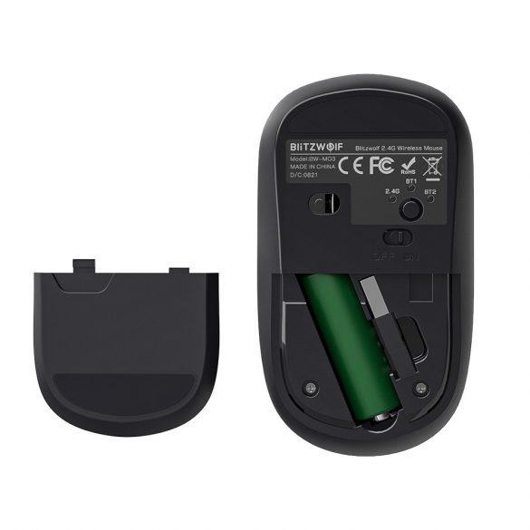Blitzwolf BW-MO3 vezeték nélküli egér - Bluetooth + 2,4 Ghz-es vezeték nélküli kapcsolat, 2400DPI - ezüst