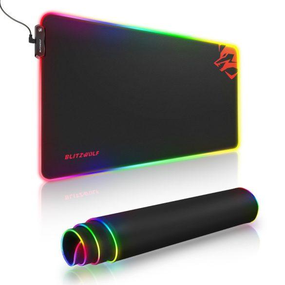 Blitzwolf BW-MP1 - Vízálló RGB világítós, csúszásmentes egérpad - 10 féle fényhatással, méret: 800x400x5mm
