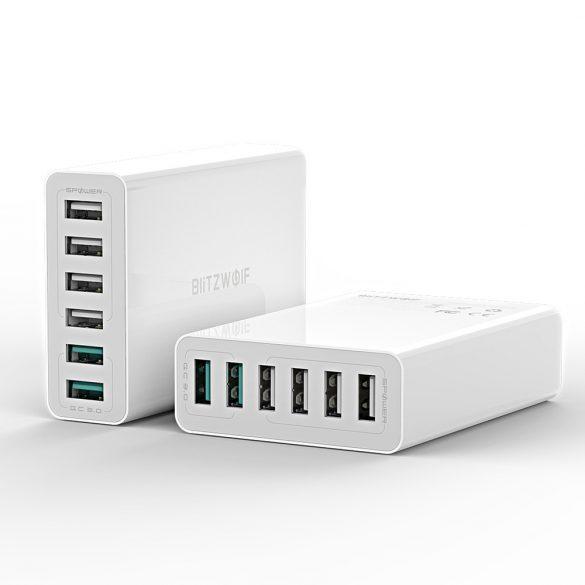 BlitzWolf® BW-S15 asztali USB gyorstöltő, 60W, 6 USB port (2 gyorstöltő + 4 normál port)