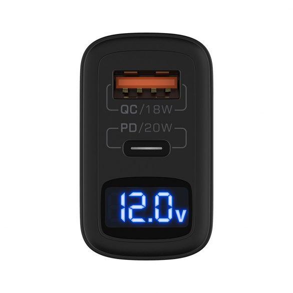 BlitzWolf® BW-S19: 20W 1xQC3.0 + 1xPD3.0 hálózati USB gyorstöltő töltő (1x USB-C + 1x USB-A)