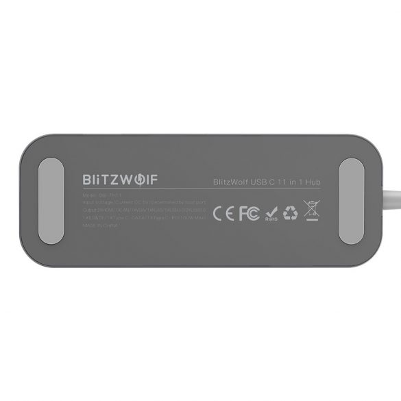 Blitzwolf BW-TH11 Hub 11 az egyben: 2db HDMI port, 100W, USB 3.0, SD kártyaolvasó, VGA, Jack, LAN port