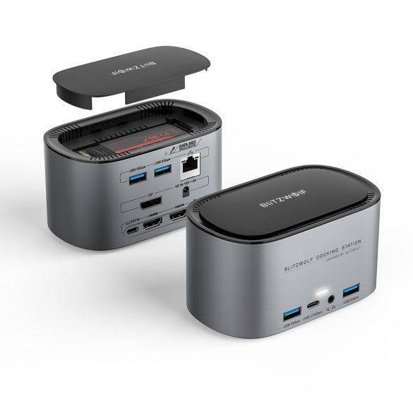 Blitzwolf BW-TH12 Hub 14 az egyben: SATA3.0, 4K HDMI, 4x USB 3.0 port, SD kártyaolvasó, 3.5 Jack, LAN port