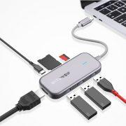 Blitzwolf BW-TH5: 7 az 1-ben: 3x USB 3.0 port, SD kártya olvasó, 4K HDMI kimeneti port, PD töltő (USB Type C) port